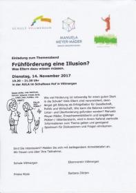 Referat Themenabend Schule Villmergen: Frühförderung eine Illusion?! / 14.11.2017